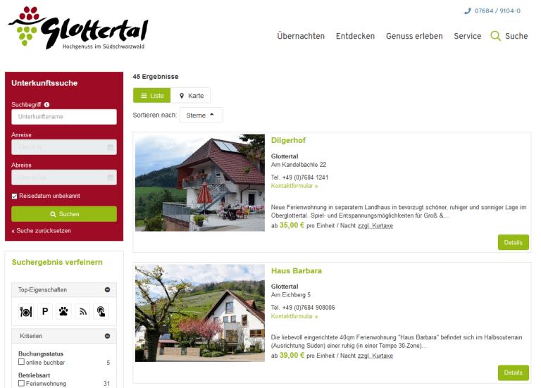 Unterkunftsverzeichnis Glottertal
